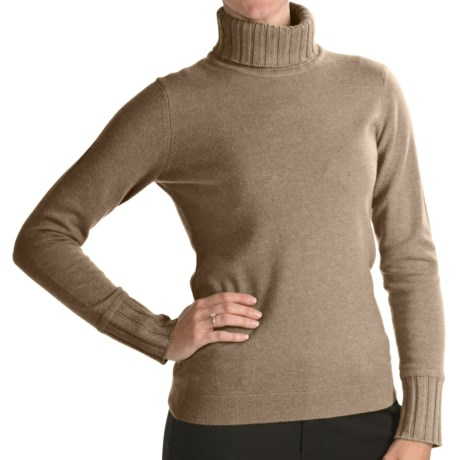 Forte Cashmere Turtleneck Sweater (For Women) in Twine