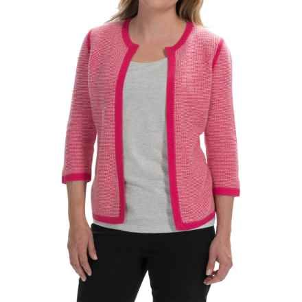 Forte Cashmere Tweed Cardigan Sweater - Cashmere, 3/4 Sleeve (For Women) in Fuchsia/Ivory - Closeouts