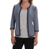Forte Cashmere Tweed Cardigan Sweater - Cashmere, 3/4 Sleeve (For Women)