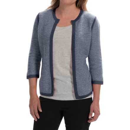 Forte Cashmere Tweed Cardigan Sweater - Cashmere, 3/4 Sleeve (For Women) in Navy/Ivory - Closeouts