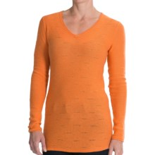 Forte Cashmere V-Neck Shirt - Textured Stitch, Long Sleeve (For Women) in Clementine - Closeouts