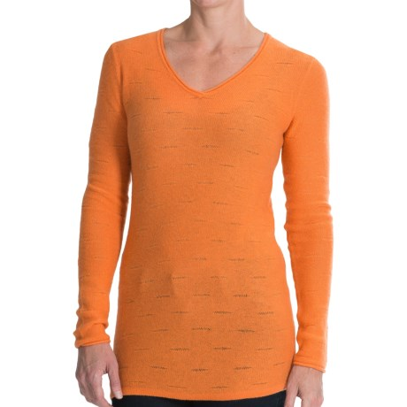 Forte Cashmere V Neck Shirt Textured Stitch, Long Sleeve (For Women)