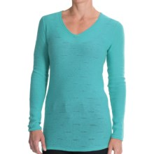 Forte Cashmere V-Neck Shirt - Textured Stitch, Long Sleeve (For Women) in Turtle - Closeouts
