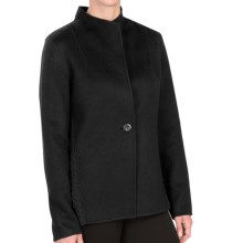 Forte Cashmere Wool-Cashmere Blazer - Ribbed Back (For Women) in Black - Closeouts