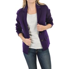 Forte Cashmere Wool-Cashmere Blazer - Ribbed Panels (For Women) in Plum Brandy - Closeouts