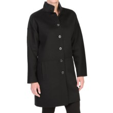 Forte Cashmere Wool Cashmere Modern Button-Front Coat (For Women) in Black - Closeouts