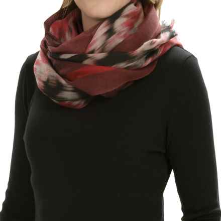 Forte Cashmere Wool Fringed Scarf (For Women) in Black Winter Ikat - Closeouts