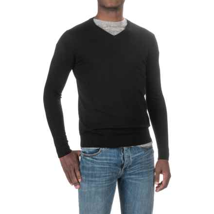 Forte Cashmere Worsted V-Neck Sweater (For Men) in Black - Closeouts