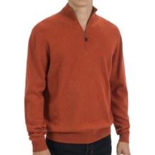 Forte Cashmere Zip Mock Neck Sweater (For Men) in Cinnabar/Zink - Closeouts