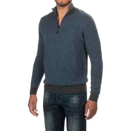 Forte Cashmere Zip Neck Sweater (For Men) in Charcoal - Closeouts