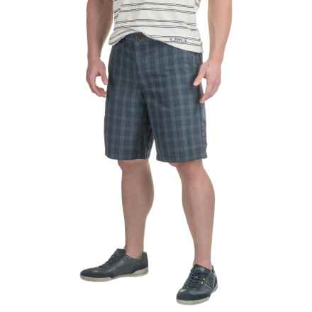Four-Pocket Polyester Shorts (For Men) in Dark Blue/Off White Plaid - 2nds