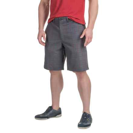 Four-Pocket Polyester Shorts (For Men) in Dark Grey/Red Plaid - 2nds