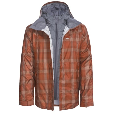 Foursquare Planner Jacket - Waterproof, 3-in-1 (For Men) in Brick Spectrum Plaid