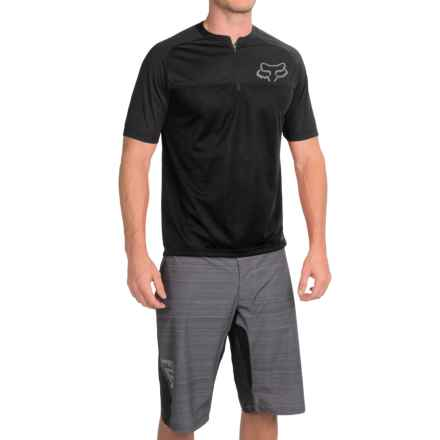 Fox Racing Ranger Cycling Jersey - Zip Neck, Short Sleeve (For Men) in Black - Closeouts