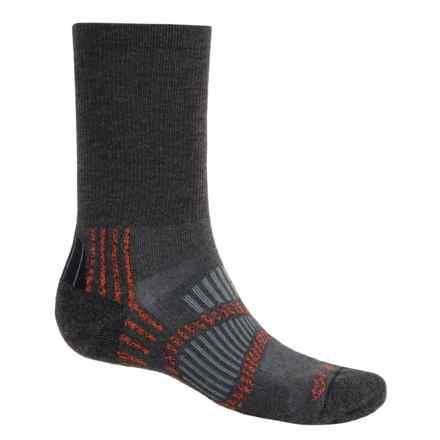 Fox River Light Socks - PrimaLoft®-Merino Wool, Crew (For Men and Women) in Graphite/Persimmon/Grey - Closeouts