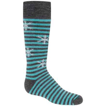 Fox River Pippi Jr. Ski Socks - Merino Wool, Over the Calf (For Girls) in Dark Charcoal - Closeouts