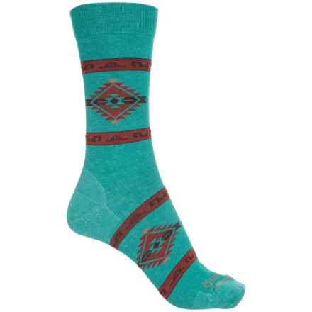 Fox River Ultra-Lightweight Navajo-Inspired Socks - Crew (For Women) in Turquoise - Closeouts
