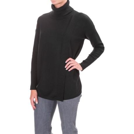 Foxcroft Asymmetrical Turteneck Shirt - Long Sleeve (For Women) in Black
