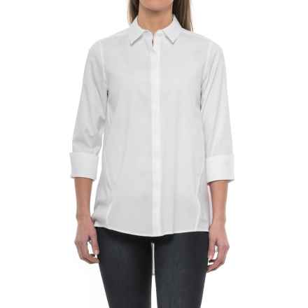 Foxcroft Casey A-Line Non-Iron Stretch Tunic Shirt - 3/4 Sleeve (For Women) in White - Closeouts