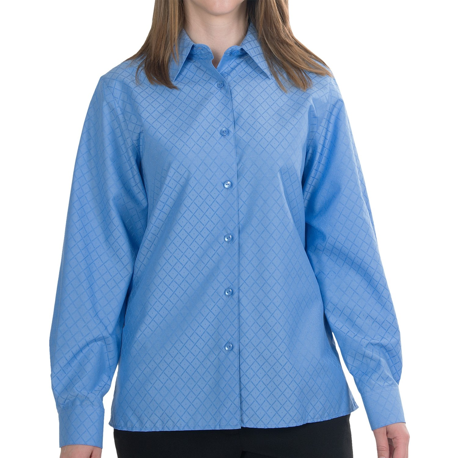 Foxcroft cotton classic fit shirt wrinkle free long Wrinkle free shirts for women