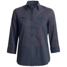 Foxcroft Cotton Lawn Shirt - Fitted, 3/4 Sleeve (For Women) in Navy Mini Dot - Closeouts
