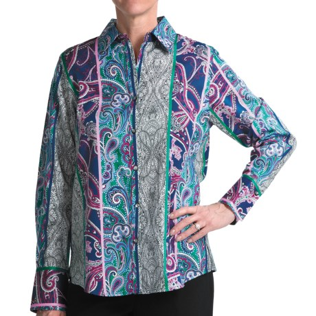 Foxcroft Cotton Shirt - Paisley Stripe, Long Sleeve (For Women) in Multi