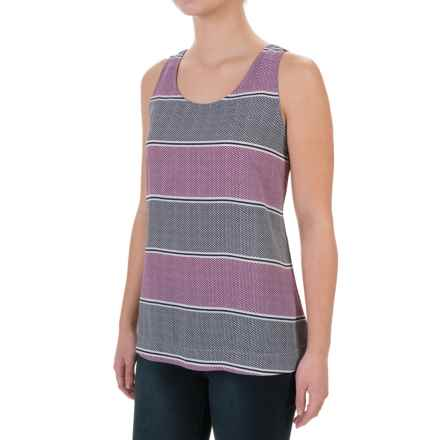 Foxcroft Crepe High-Low Tank Top - Scoop Neck (For Women) in Dotted Stripes Multi - Closeouts