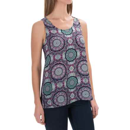 Foxcroft Crepe High-Low Tank Top - Scoop Neck (For Women) in Medallion Multi - Closeouts