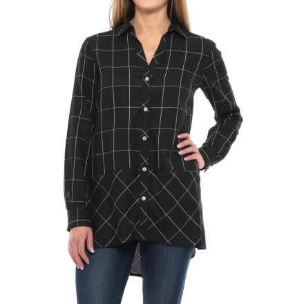 Foxcroft Daniela Windowpane Tunic Shirt - Long Sleeve (For Women) in Black - Closeouts