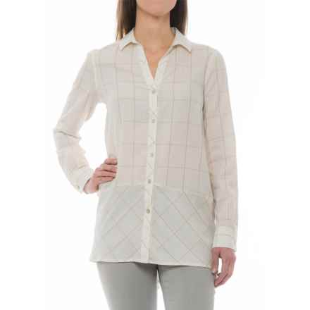 Foxcroft Daniela Windowpane Tunic Shirt - Long Sleeve (For Women) in Ivory - Closeouts
