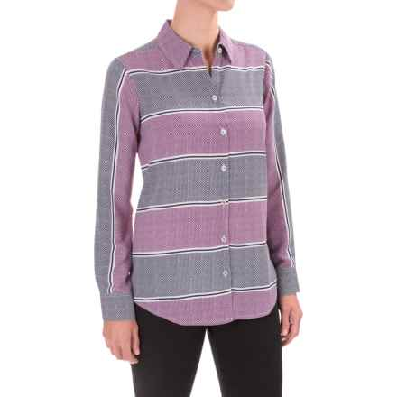 Foxcroft Dotted Stripes Print Blouse - Long Sleeve (For Women) in Multi - Closeouts