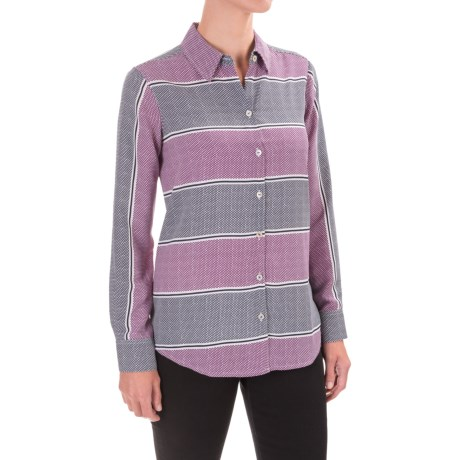 Foxcroft Dotted Stripes Print Blouse - Long Sleeve (For Women)