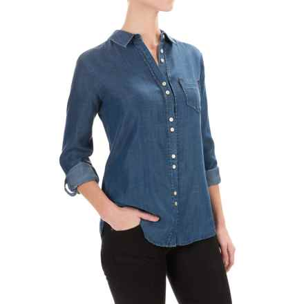 Foxcroft Double-Button Shirt - Long Sleeve (For Women) in Navy - Closeouts
