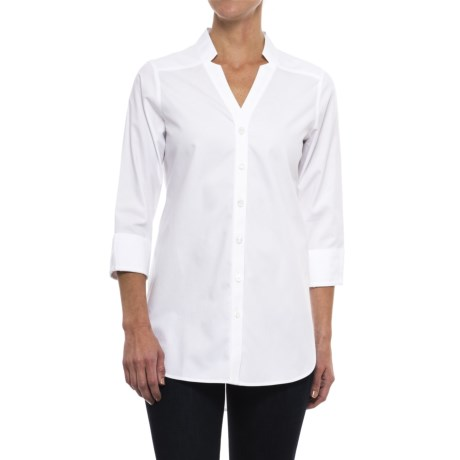 Foxcroft Drew Non-Iron Pinpoint Tunic Shirt - 3/4 Sleeve (For Women) in White