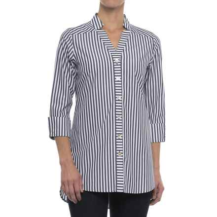 Foxcroft Drew Preppy Stripe Shirt - 3/4 Sleeve (For Women) in Navy - Closeouts