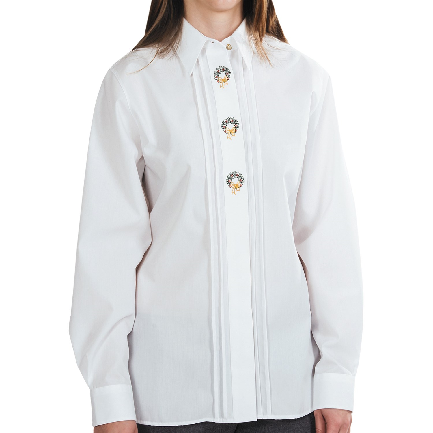 Foxcroft embroidred holiday shirt wrinkle free long Wrinkle free shirts for women