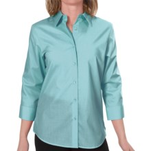 Foxcroft Essentials Shaped Shirt - Wrinkle-Free, 3/4 Sleeve (For Women) in Beachglass - Closeouts