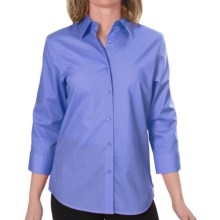 Foxcroft Essentials Shaped Shirt - Wrinkle-Free, 3/4 Sleeve (For Women) in Blue Bell - Closeouts
