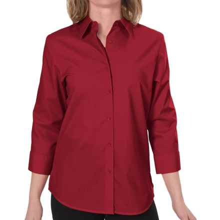 Foxcroft Essentials Shaped Shirt - Wrinkle-Free, 3/4 Sleeve (For Women) in Christmas Red - Closeouts