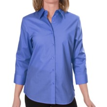 Foxcroft Essentials Shaped Shirt - Wrinkle-Free, 3/4 Sleeve (For Women) in Paris Blue - Closeouts