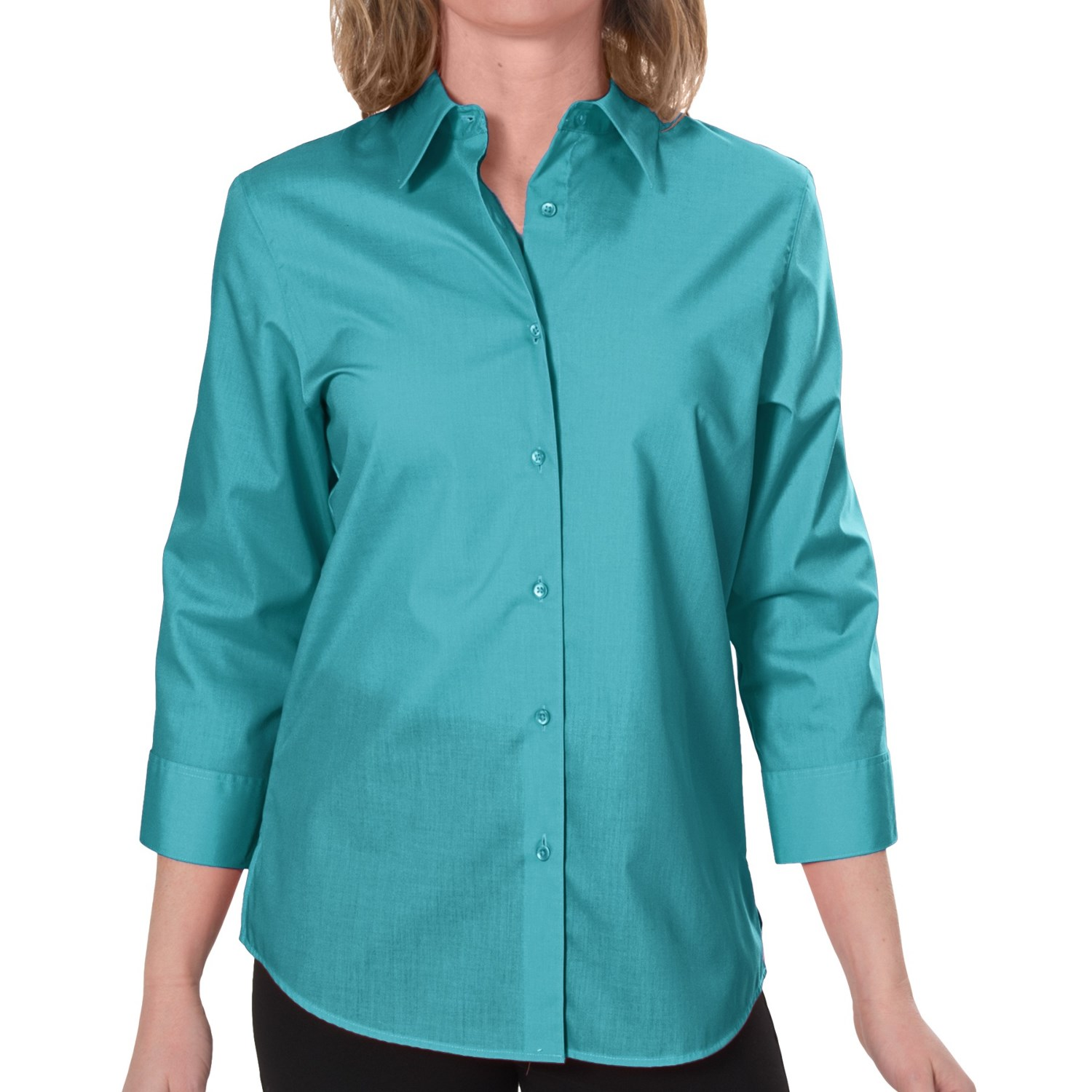 Foxcroft essentials shaped shirt wrinkle free 3 4 Wrinkle free shirts for women