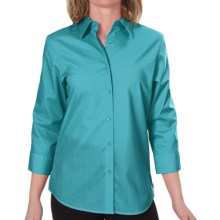 Foxcroft Essentials Shaped Shirt - Wrinkle-Free, 3/4 Sleeve (For Women) in Spring Teal - Closeouts
