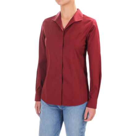 Foxcroft Eva Essential Fitted Shirt - Long Sleeve (For Women) in Fall Red - Closeouts
