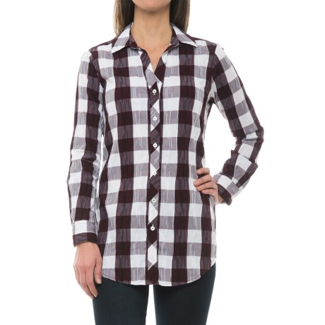 Foxcroft Fay Crinkle Plaid Tunic Shirt - Long Sleeve (For Women) in Port