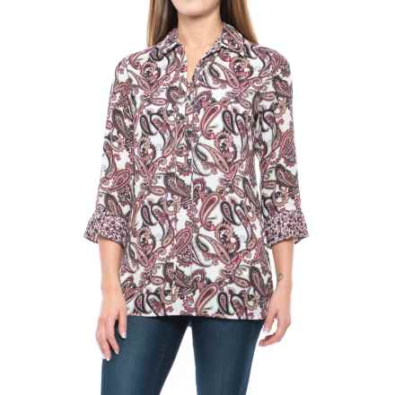 Foxcroft Felicity Whimsical Paisley Tunic Shirt - 3/4 Sleeve (For Women) in Roseberry - Closeouts