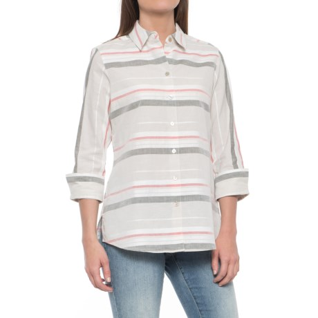 Foxcroft Fia Horizontal Stripe Shirt - 3/4 Sleeve (For Women) in Khaki Multi