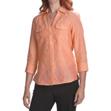 Foxcroft Fitted Shirt - Linen, 3/4 Sleeve (For Women) in Tangerine - Closeouts