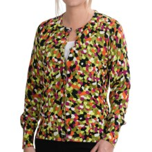 Foxcroft Garden Dot Print Cardigan Sweater (For Women) in Multi - Closeouts