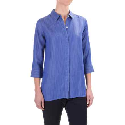 Foxcroft Gigi TENCEL® Tunic Shirt - Tie-Back, 3/4 Sleeve (For Women) in Periwinkle Wash - Closeouts