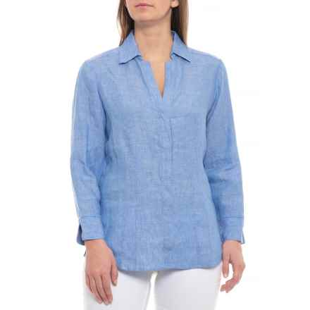 Foxcroft Harbor Blue Taylor Shirt - Chambray Linen, 3/4 Sleeve (For Women) in Harbor Blue - Closeouts